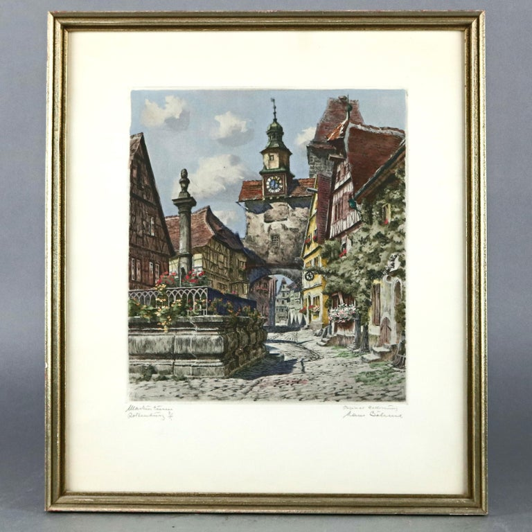 German Antique Bavarian Pencil Signed Etchings of Rothenburg Street Scenes, circa 1900 For Sale