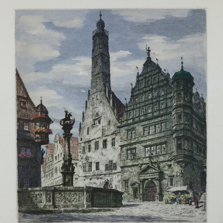 Antique Bavarian Pencil Signed Etchings of Rothenburg Street Scenes, circa 1900 In Good Condition For Sale In Big Flats, NY