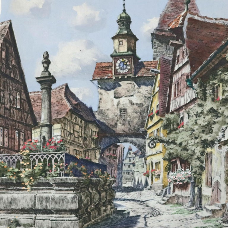 20th Century Antique Bavarian Pencil Signed Etchings of Rothenburg Street Scenes, circa 1900 For Sale