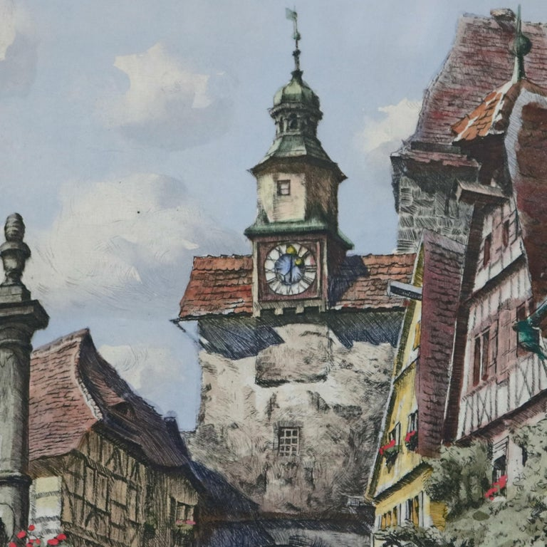 Paper Antique Bavarian Pencil Signed Etchings of Rothenburg Street Scenes, circa 1900 For Sale