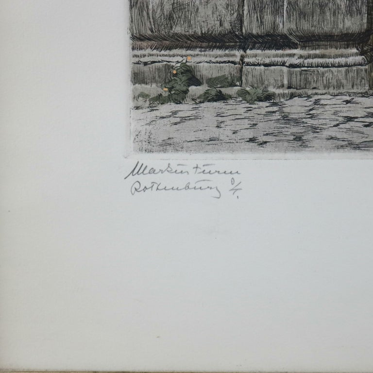 Antique Bavarian Pencil Signed Etchings of Rothenburg Street Scenes, circa 1900 For Sale 1