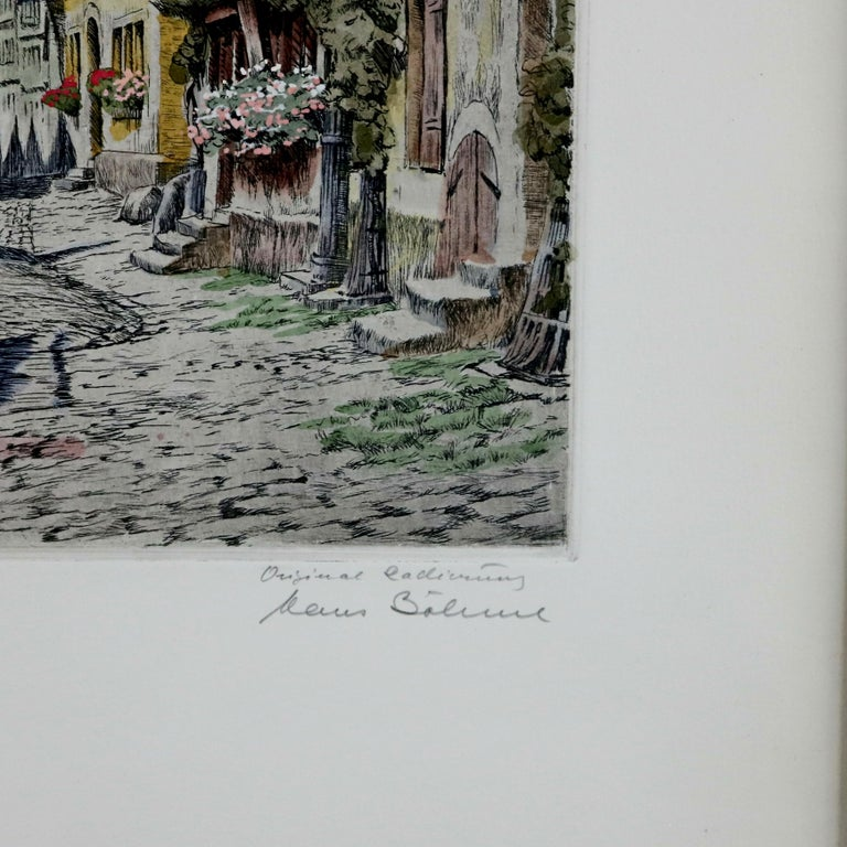 Antique Bavarian Pencil Signed Etchings of Rothenburg Street Scenes, circa 1900 For Sale 2