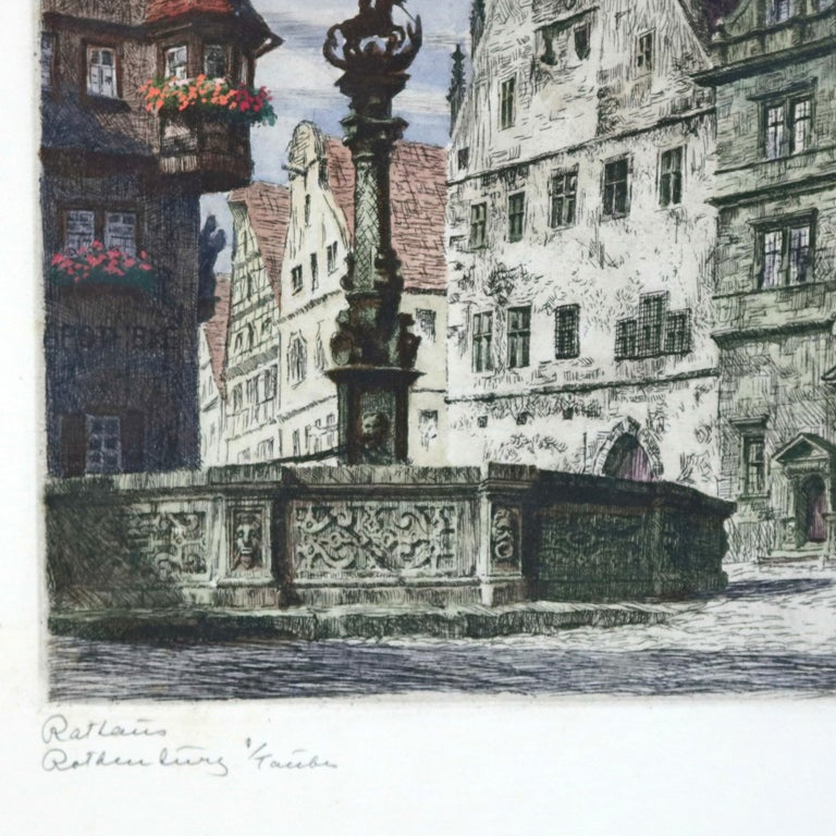 Antique Bavarian Pencil Signed Etchings of Rothenburg Street Scenes, circa 1900 For Sale 3