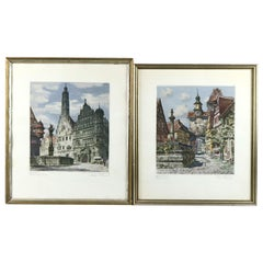 Antique Bavarian Pencil Signed Etchings of Rothenburg Street Scenes, circa 1900