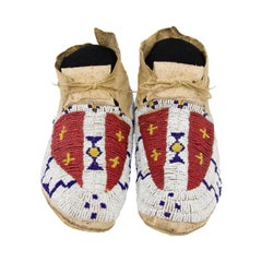 Antique Beaded Moccasins, Cheyenne 'Plains Indian', circa 1880s, Buffalo Tracks