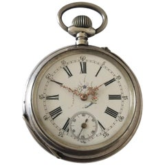 Antique Beautifully Engraved Silver Cased Pocket Watch