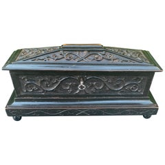 Antique & Beautifully Hand Carved Mid-1800s Gothic Revival Tomb Shape Wooden Box