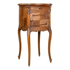 Antique Bedside Cabinet French Walnut Marble Top Pot Cupboard, circa 1890