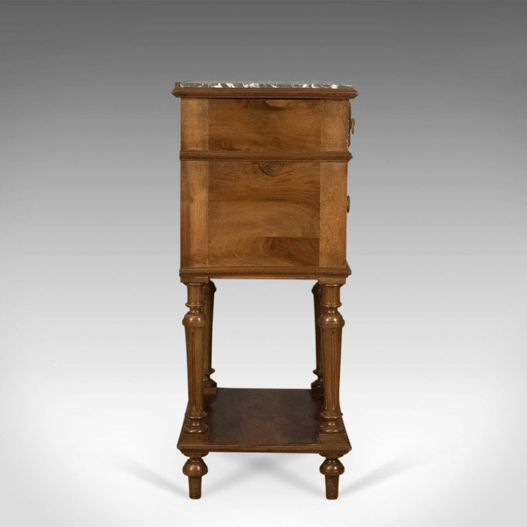 English Antique Bedside Cabinet, Victorian Marble-Top Pot Cupboard, Walnut, circa 1900 For Sale