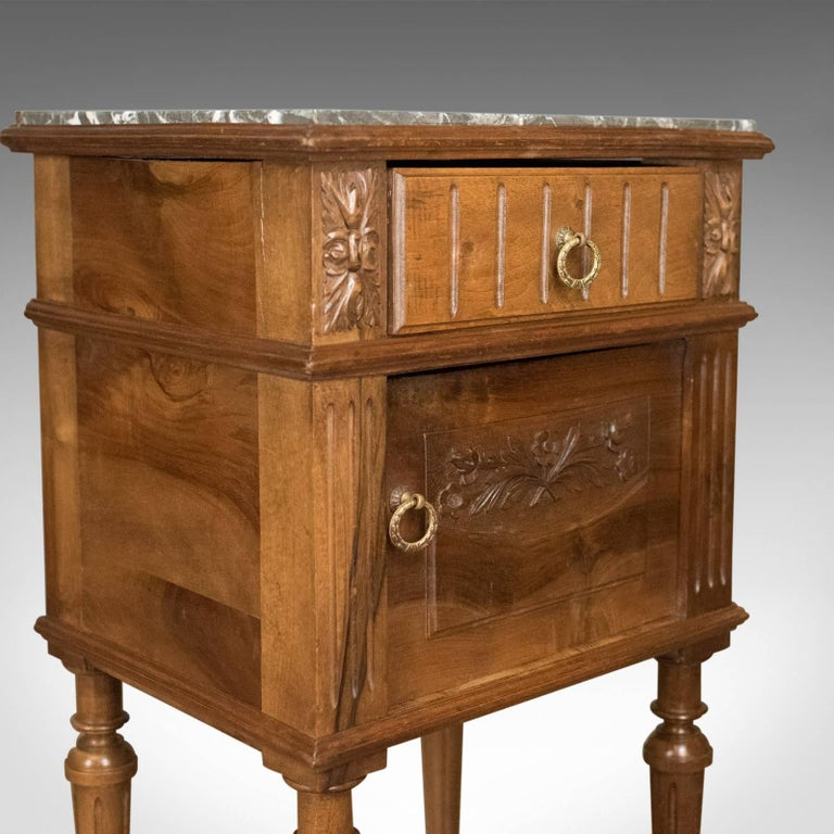 19th Century Antique Bedside Cabinet, Victorian Marble-Top Pot Cupboard, Walnut, circa 1900 For Sale