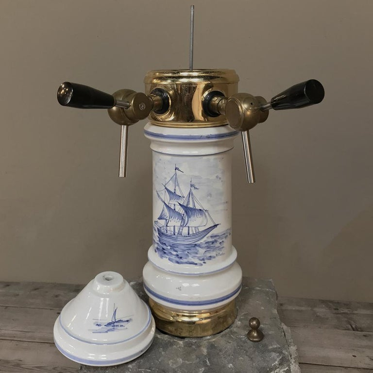 20th Century Antique Beer Tap, Belgian Porcelain and Brass For Sale