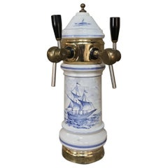 Antique Beer Tap, Belgian Porcelain and Brass