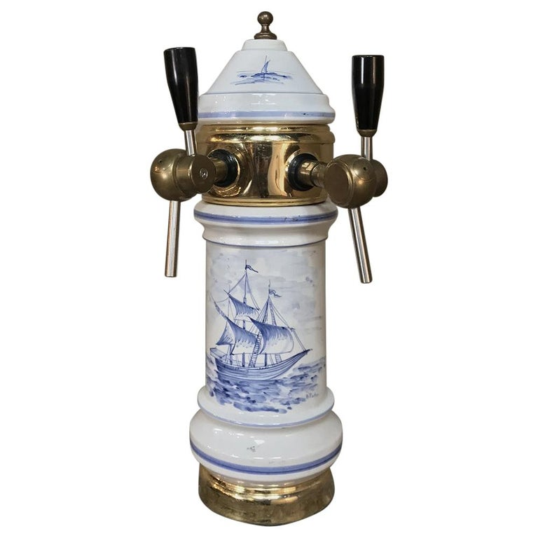 Antique Beer Tap, Belgian Porcelain and Brass For Sale