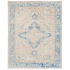 Antique Beige and Blue Persian Heriz Handmade Medallion Floral Wool Rug