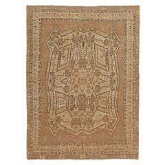 Antique Beige and Brown Geometric Motif Persian Bakhtiari Rug
