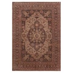 Antique Beige, Brown, Oriental, Persian Tabriz Hand-Knotted Wool Rug