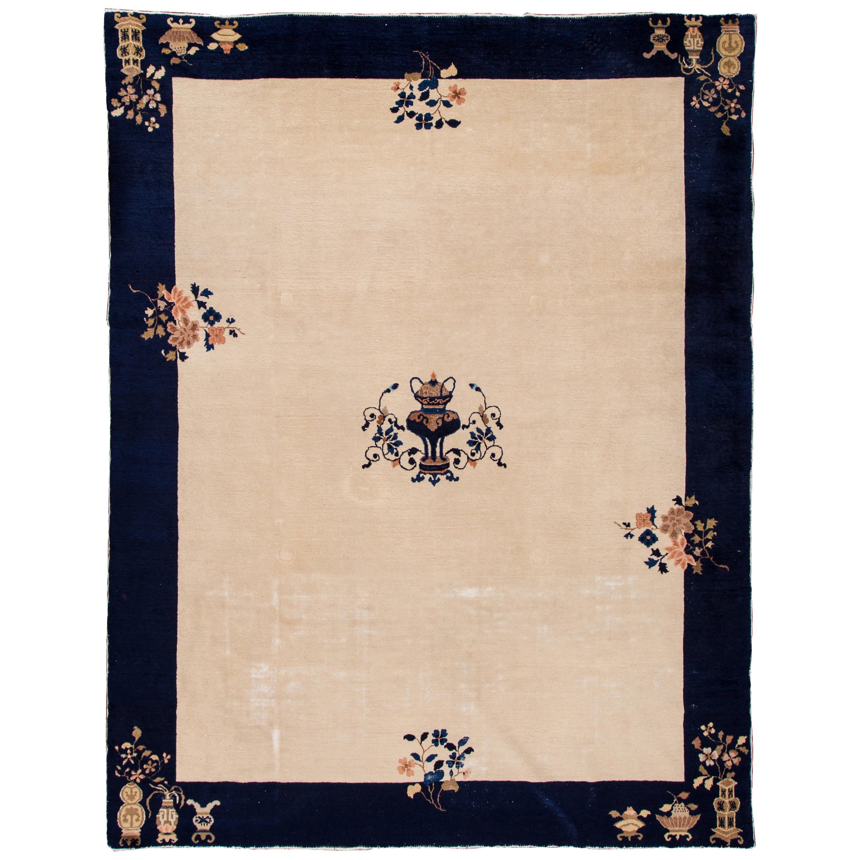 Antique Beige Peking Chinese Wool Rug