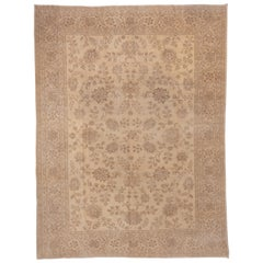 Antique Beige Turkish Sivas Rug, Beige All-Over Field, circa 1920s