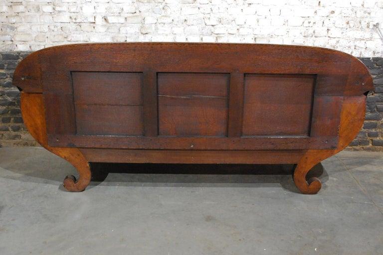 Antique Belgian Biedermeier Sofa, Couch in Mahogany and Black Velvet In Good Condition For Sale In Casteren, NL