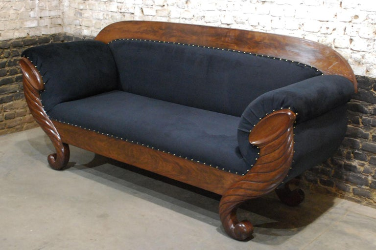 Antique Belgian Biedermeier Sofa, Couch in Mahogany and Black Velvet For Sale 1