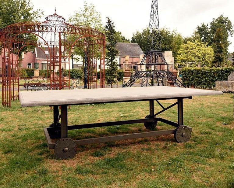 Antique Belgian Bluestone Garden Table 19th Century In Fair Condition For Sale In Udenhout, NL
