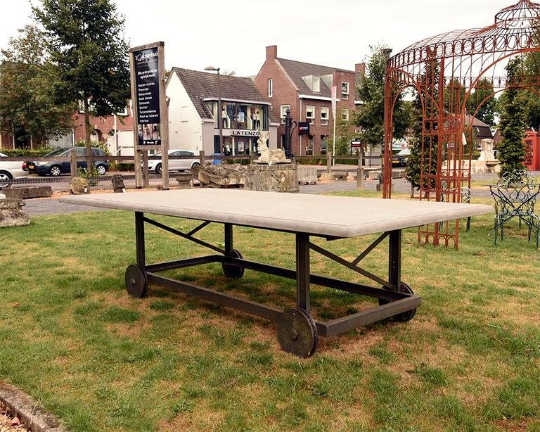 Late 19th Century Antique Belgian Bluestone Garden Table 19th Century For Sale