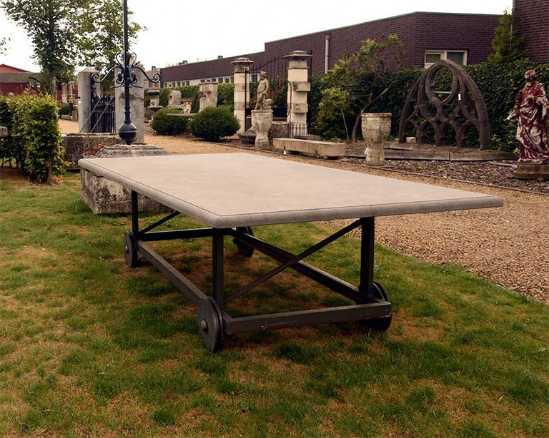 Stone Antique Belgian Bluestone Garden Table 19th Century For Sale
