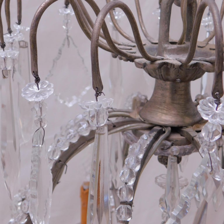 Antique Belgian Glass Beaded and Crystal Prism Eight-Arm Chandelier For Sale 3