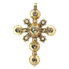 Antique Belgian Gold Cross Pendant with Old Table Cut Rose Cut Diamonds, 1815