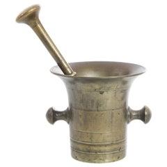 Antique Belgian Metal Mortar with Pestle