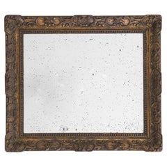 Antique Belgian Mirror with Wooden Frame