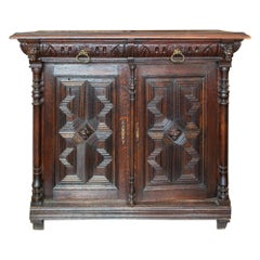 Antique Belgian Oak Malinois Petite Buffet with Carved Details