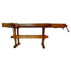 Antique Belgian Solid Oak Carpenter's Woodworking Bench with 2 Vises, Circa 1900