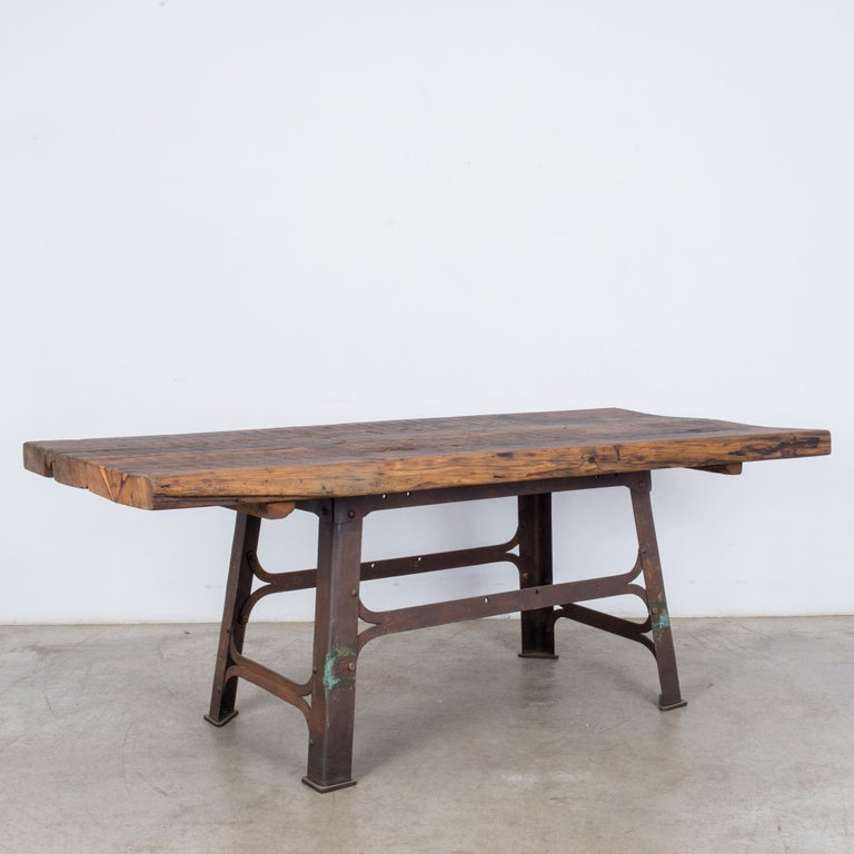 Antique Belgian Table with Industrial Metal Base and Rustic Wooden Top In Good Condition In High Point, NC