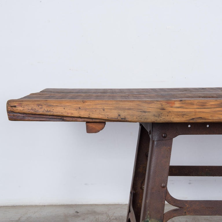 Early 20th Century Antique Belgian Table with Industrial Metal Base and Rustic Wooden Top