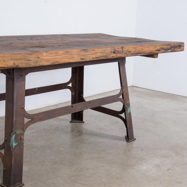Steel Antique Belgian Table with Industrial Metal Base and Rustic Wooden Top