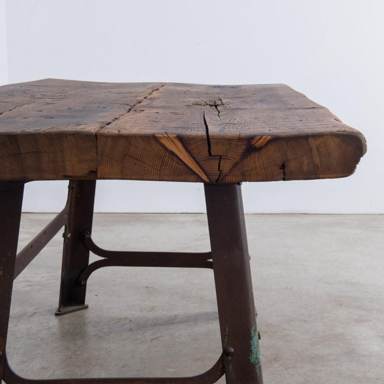 Antique Belgian Table with Industrial Metal Base and Rustic Wooden Top 1