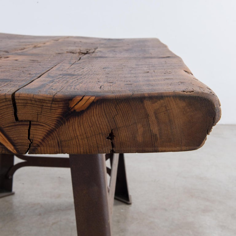 Antique Belgian Table with Industrial Metal Base and Rustic Wooden Top 2