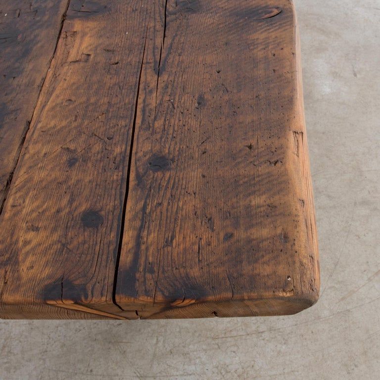Antique Belgian Table with Industrial Metal Base and Rustic Wooden Top 4