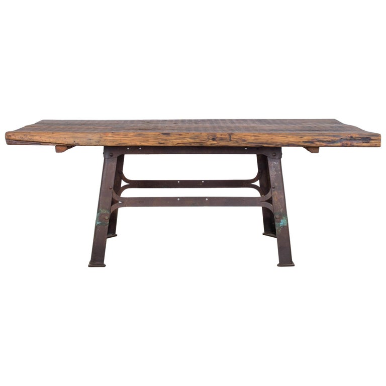 Antique Belgian Table with Industrial Metal Base and Rustic Wooden Top