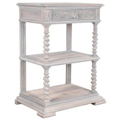 Antique Belgian Whitewashed Console Table