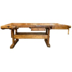 Antique Belgian Woodcarver's Oak Workbench with Drawer and Working Vises, 1900