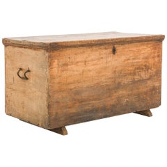 Antique French Wooden Trunk