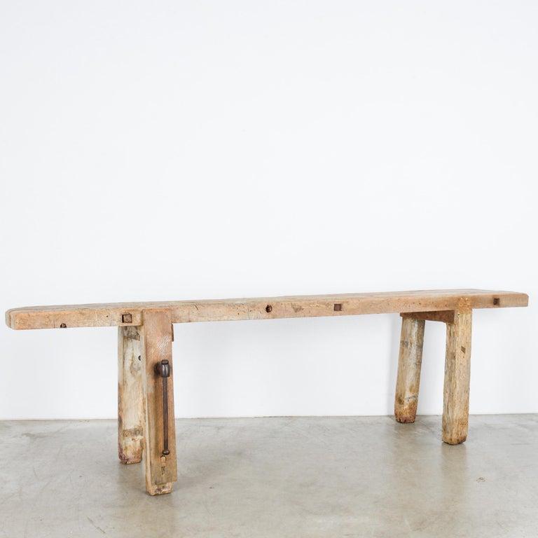 Industrial Antique Belgian Wooden Work Bench For Sale