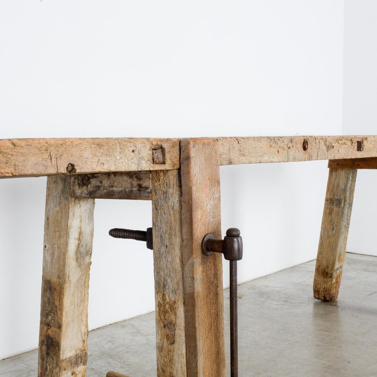 20th Century Antique Belgian Wooden Work Bench For Sale