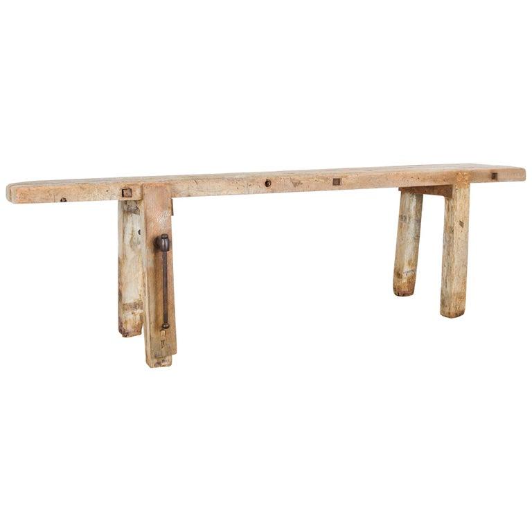 Antique Belgian Wooden Work Bench For Sale