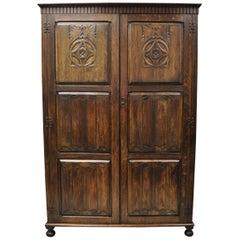 Antique Belgium Renaissance Jacobean Figural Carved Oak Large Wardrobe Cabinet