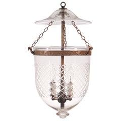 Antique Bell Jar Lantern with Diamond Etching
