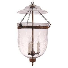 Antique Bell Jar Lantern with Etched Floral Motif