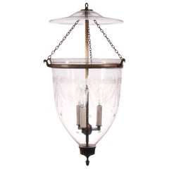 Antique Bell Jar Lantern with Federal Etching